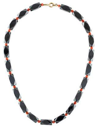Carvin French 18K Hematite & Coral Bead Strand Necklace yellow Carvin French 18K Hematite & Coral Bead Strand Necklace