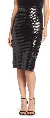Eliza J Paillette Sequin Pencil Skirt