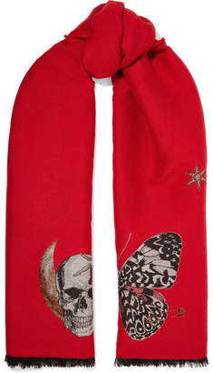 Alexander McQueen Embroidered Wool-blend Scarf