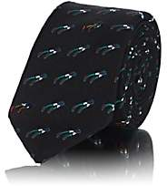 Title of Work Men's Bead-Embellished Wool Faille Necktie - Black