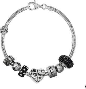"Individuality Beads Sterling Silver Snake Chain Bracelet & Crystal ""Best Friends"" & Sisters Bead Set"