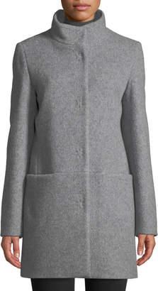 Cinzia Rocca Snap-Button Wool-Blend Walking Coat, Light Gray