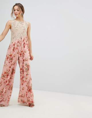 Asos DESIGN Jumpsuit in Soft Floral with Lace Bodice Detail