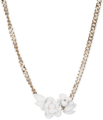 "DKNY Gold-Tone White Floral Frontal Necklace, 16"" + 3"" extender"