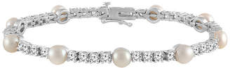 FINE JEWELRY Womens Cultured Freshwater Pearl & Cubic Zirconia Sterling Silver Over Brass Bracelet
