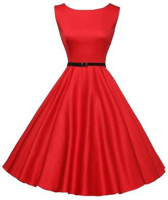 aee03b9794fe0 Christmas Dress 1950s Rockabilly Dresses Women Sleeveless Retro Evening  Party Prom Swing Vintage Dress(