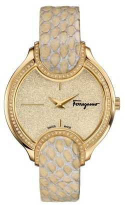 Women's Salvatore Ferragamo Diamond Snakeskin Strap Watch, 38Mm $3,895 thestylecure.com
