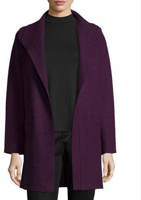 Eileen Fisher Boiled Wool Funnel-Neck Coat, Deep Raisin $398 thestylecure.com