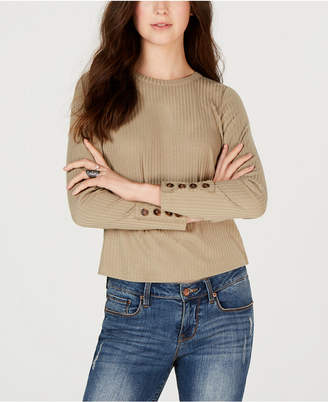 American Rag Juniors' Ribbed Button-Detail Top