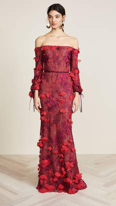 Marchesa Off Shoulder Embroidered Gown