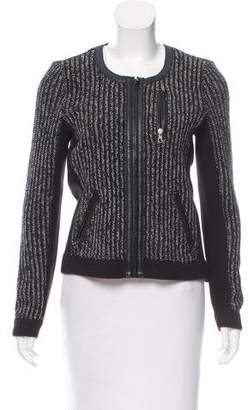 Rag & Bone Leather-Trimmed Zip-Up Cardigan