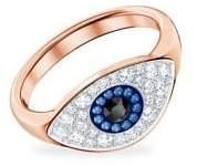 Swarovski Rose-Goldtone and Multi-colored Crystal Duo Evil Eye Ring