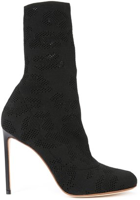 Francesco Russo perforated detail mid-calf boots $726 thestylecure.com