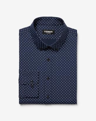 Express Slim Dot Print Wrinkle-Resistant Performance Dress Shirt