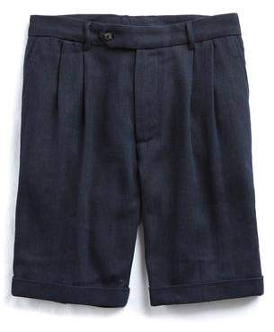 Todd Snyder Linen Cotton Herringbone Short in Navy