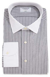 Men's Stripe Dress Shirt with White Collar/Cuffs