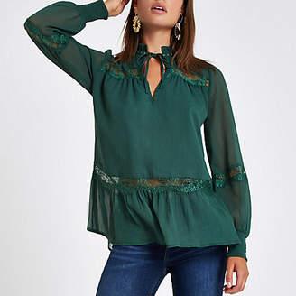 River Island Green stud lace trim blouse