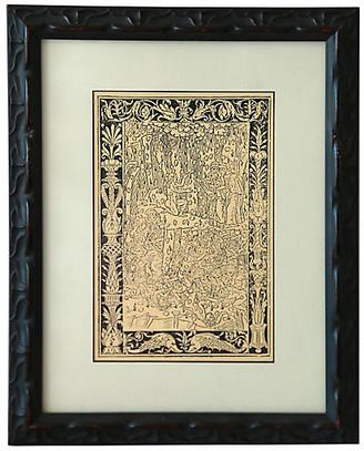 One Kings Lane Vintage Custom Framed Gothic Print - Fleur de Lex Antiques