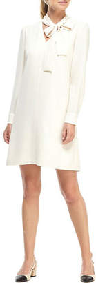 Gal Meets Glam City Crepe Long-Sleeve Shift Dress with Neck Tie