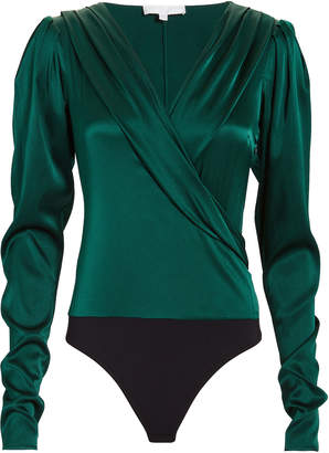 Caroline Constas Emerald Green Crossfront Bodysuit
