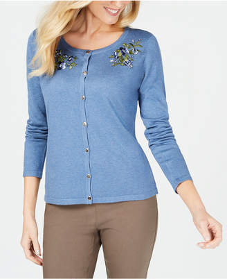 Karen Scott Embroidered Long-Sleeve Cardigan, Created for Macy's