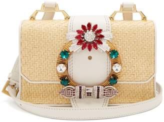 Miu Miu Crystal-embellished raffia cross-body bag