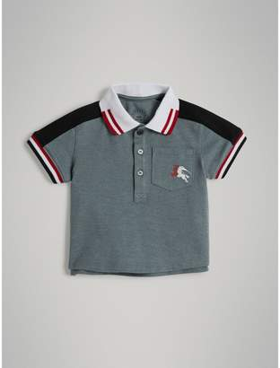 Burberry Childrens Stripe Detail Cotton Piqué Polo Shirt