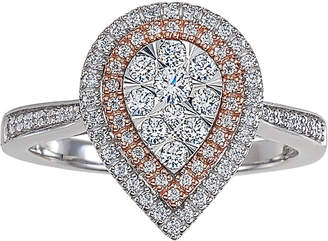 Macy's Diamond Two-Tone Teardrop Cluster Ring (1/2 ct. t.w.) in 14k White & Rose Gold