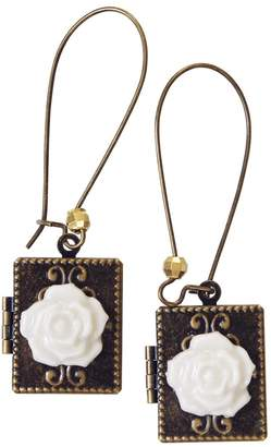 POPORCELAIN - Classic Porcelain Rose On Vintage Book Locket Earrings