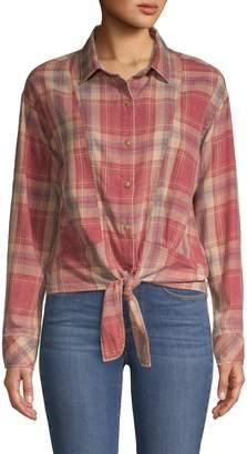 C&C California Tie-Front Cotton-Blend Shirt