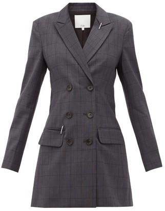 Tibi Windowpane Check Blazer Dress - Womens - Dark Grey