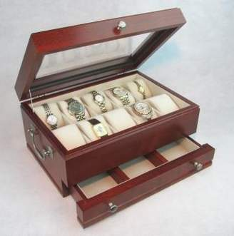 The Captain Ten Piece Glass Top Watch Chest - Solid Cherry