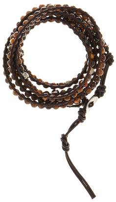 Jean Claude Tiger Eye & Skull Bead Leather Multi Wrap Bracelet