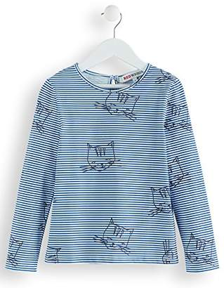 RED WAGON Girl's Stripey Cat T-Shirt