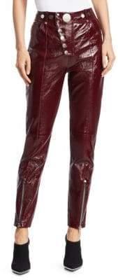 Alexander Wang Leather High-Waist Multi-Button Leggings