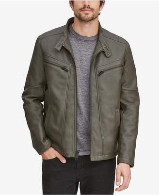 Andrew Marc Men Corbett Faux-Leather Jacket With Removable Hood