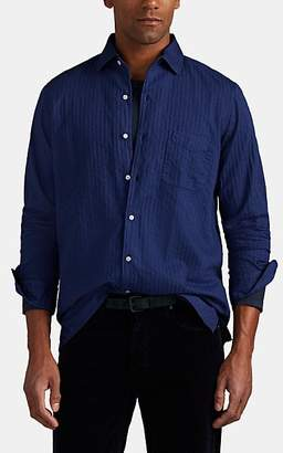 Massimo Alba Men's Cotton Seersucker Shirt - Navy