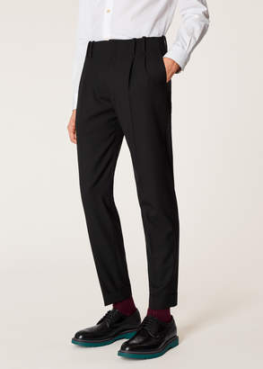 Paul Smith Men's Tapered-Fit Black Double-Pleated Wool Trousers