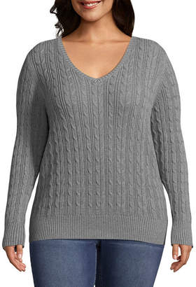 ST. JOHN'S BAY Cable V-Neck Sweater - Plus