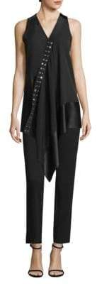 Derek Lam Sleeveless Asymmetrical Mixed Media Blouse