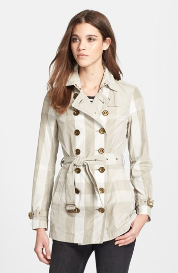 Burberry Check Print Double Breasted Linen Trench Coat