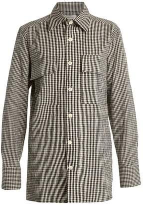 Wales Bonner Isaiah gingham linen-blend shirt