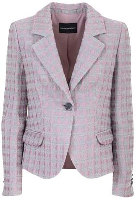 Emporio Armani Grey and pink wool-blend jacquard blazer featuring a jacquard effect, notched lapels, a front button fastening, long sleeves, button cu