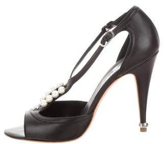 Chanel Leather Faux Pearls-Accented Sandals