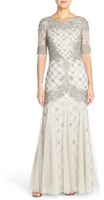 Adrianna Papell Embellished Mesh Gown $389 thestylecure.com
