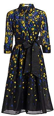 Teri Jon by Rickie Freeman Women's Floral Bow Shirt Dress