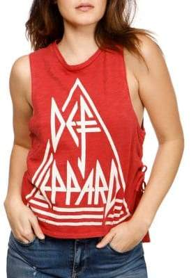 Lucky Brand Def Leppard Lace-Up Cotton Tank Top