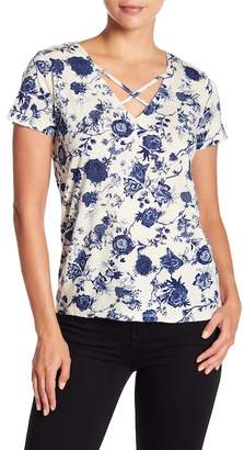 Lucky Brand Floral Printed Cross Strap Tee