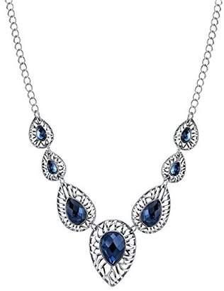 1928 Jewelry Silver-Tone Blue Filigree Teardrop Collar Necklace of 40.64-48.26cm
