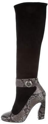 Prada Snakeskin-Trimmed Square-Toe Boots